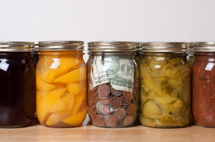 Food preserves and a money jar